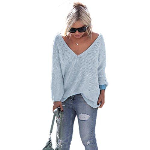 OverDose Las mujeres de manga larga de punto suéter flojo Pullover Puente Tops Prendas de punto (S,