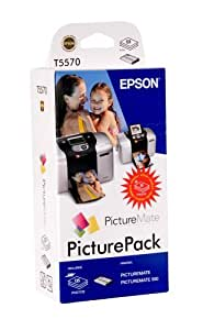 Epson PicturePack (135 x photo-paper, 1 x 6 colour ink cartridge) T5570 - ink cartridges (1 x 6 colour ink cartridge) T5570, Black, Cyan, Light cyan, Light magenta, Magenta, Yellow, Epson PictureMate, Epson PictureMate 500 printer)