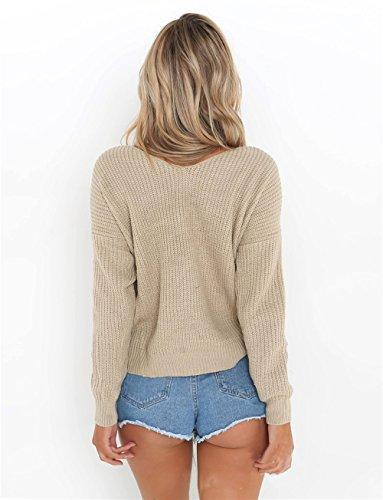 Maglione Donna Manica Lunga Scollato V Croce Pullover Maniche Lunghe,Backless Reversible Cross Wrap Sweater Jumper Beige