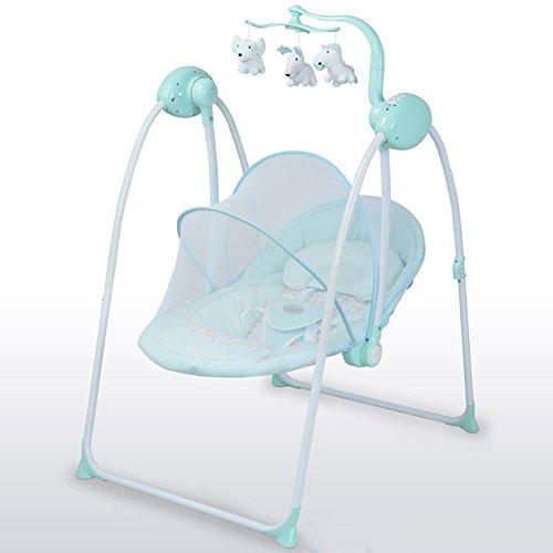 Erhöhung Baby Schaukelstuhl Baby Elektro Schaukelstuhl BB Wiege Liegestuhl Beruhigende Schaukelstuhl Schaukel Mit Moskitonetz Und Mat (Farbe : Blau)