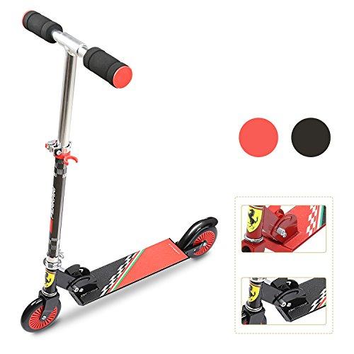 Ferrari ® Kinderscooter Kid Scooter Kinderroller Cityroller Scooter schwarz Höhenverstellbar Faltbar klappbar ABEC5 für 3 bis 5 Jährigen geeignet.