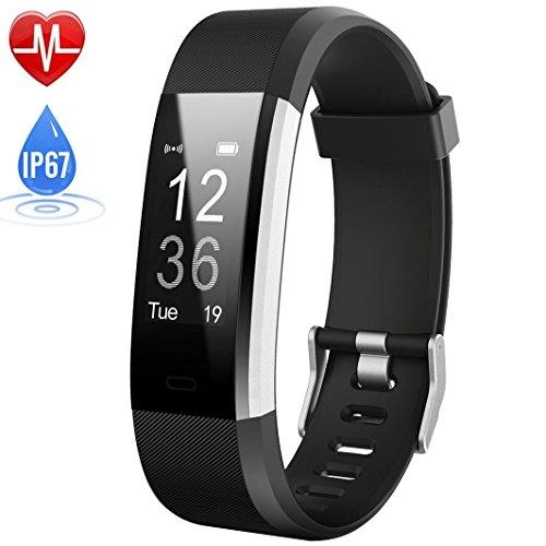 Fitness Armband mit Pulsmesser, HETP Uhr Schrittzähler Pulsuhr Fitness Trackers Wasserdicht IP67 Pedometer Aktivitätstracker Bluetooth Smart Watch Armband Uhr mit 14 Trainingsmodi Schlafmonitor...