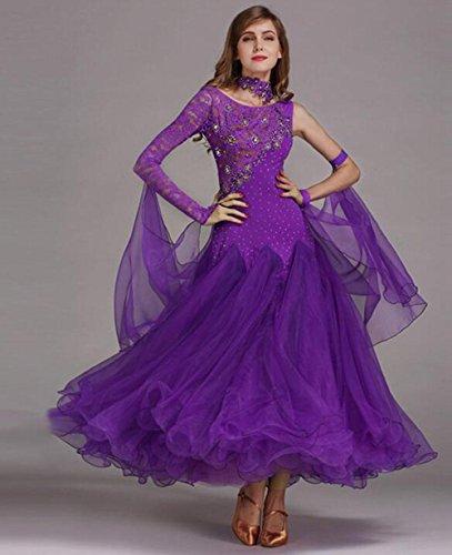 RENMEN Lace Stitching großen modernen Tanz Röcke GB Dance Wettbewerb Kleid, XL