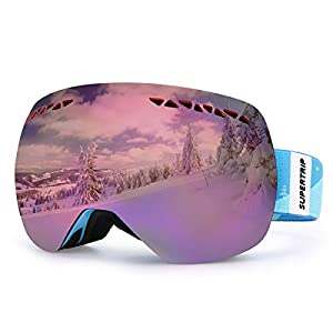 Supertrip Skibrille Damen Herren Snowboardbrille Schneebrille Verspiegelt Ski-Schutzbrillen Schneebrille 100% UV400 Schutz für Brillenträger Antifog Skifahren Snowboarden