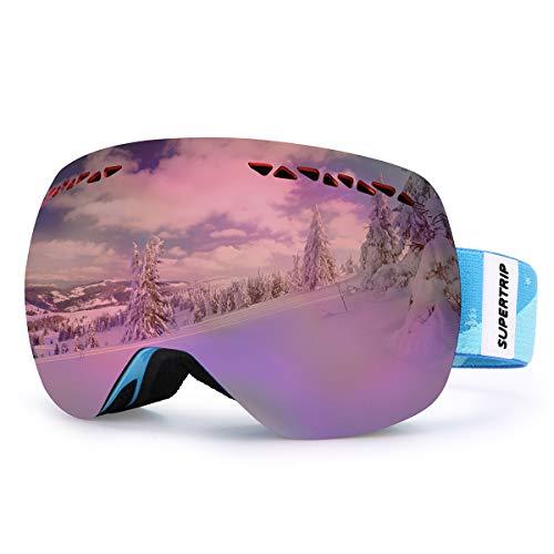Supertrip Skibrille Damen Herren Snowboardbrille OTG verspiegelt Ski-Schutzbrillen 100% UV400 schutz für Brillenträger Antifog (Orange Revo Blau (VLT 28%)) (Snowboard-brillen Blaue)