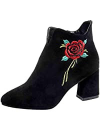 Mujer Botines SMARTLADY Mujer Flores Rose bordada Cuero Botas Zapatos de Tacón para Fiesta Oficina