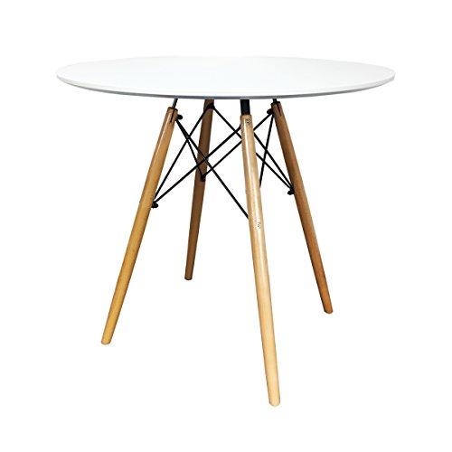 IHANA rund modernen Esstisch DSW Eiffel Stil MDF Tischplatte in weiß & schwarz, Buche massiv Holz Bein mit hochwertigen Stahl Rahmen in Black Powder Coat, weiß, Diameter 80cm