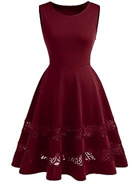 Dressystar Damen Brautjungfernkleid 50er Kleid Damen Ärmellos Spitze Kleider Elegant Saum