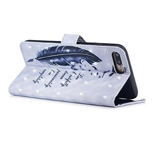 Cover iPhone 7 Plus, Custodia iPhone 8 Plus, Cover Flip Portafoglio in Pelle + Case in Silicone TPU Morbido, Surakey 2 in 1 Cassa del Telefono [Elegante Wallet con Porta Carte] Custodia a Libro Chiusa Piuma Blu