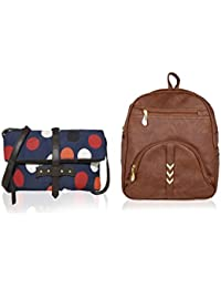 Kleio One Fold Canvas PU Printed Cross Body Sling Bag & Zipper Backpack For Girls / Women