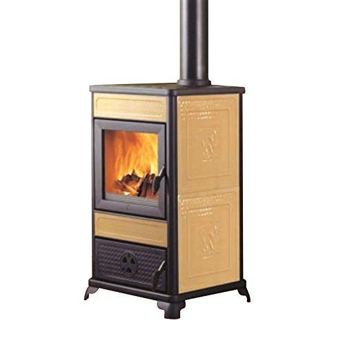 Edilkamin Stufa termostufa a legna 11Kw bordeaux riscaldamento acqua...