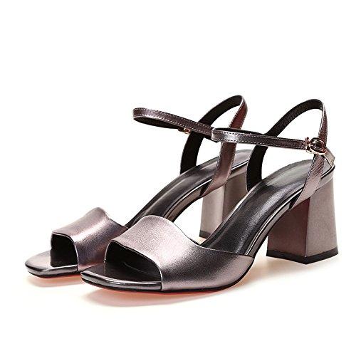 XY&GKHeel Sandalen High Heels Leder Zehen Komfort im Sommer der Luft Sandalen, komfortabel und schön 38 gun color