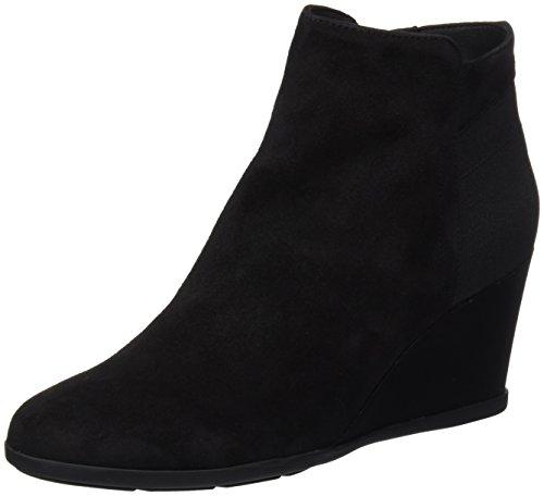 Geox Damen D Inspiration Wedge C Stiefel, Schwarz (Black), 38 EU (Leder-booties Patent)