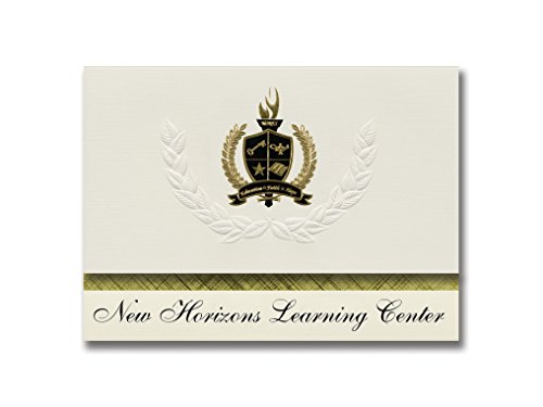 Signature Announcements New Horizons Learning Center (Greenville, TX) Graduationsankündigungen, Präsidential-Stil, Grundpaket mit 25 goldfarbenen und schwarzen metallischen Folienversiegelungen