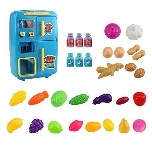 AEROBATICS Kühlschrank Spielzeug Kind,Kühlschrank und Zubehör Puppenzubehör Nebel Funktion Lichter Ringe Kinder-Kühlschrank Spielzeug Set Mini Pretend Play Küche Spielzeug für Kinder -