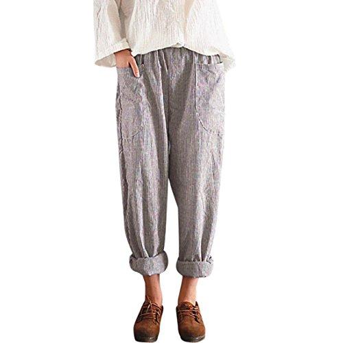UFACE Women's Casual Gestreifte Tasche Lose Hosen Hohe Taille Vintage Striped Lose Baumwolle Leinen Lange Hosen Pluderhosen (L/(42), Khaki) (Gold Gestreifte Hohe Socken)