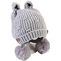 Hhrong Sombrero de Invierno para niños Botón de Oreja pequeño Pelota de Pelo, además de Orejeras de Terciopelo Gorro de Lana de Punto cálido, Adecuado para Actividades al Aire Libre