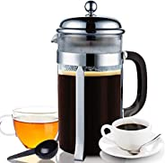 Coffee Press French Press 3in1 Coffee Maker for Coffee/Loose Tea/Milk Frother Set (34Oz/1000ML, 8 Cups) Triple