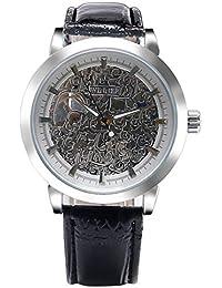 f34951d47090 Winner Reloj de Pulsera mecánico de Cuero con Cuerda Manual