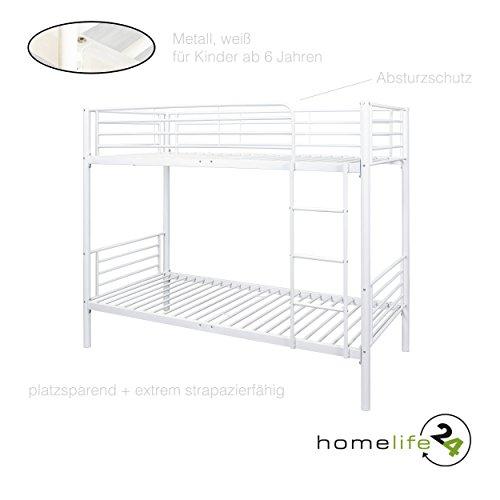 H24living Metall Etagenbett 90x200cm Bett Etagenbett Doppelstockbett Metall  Bettrahmen Hochbett Kind