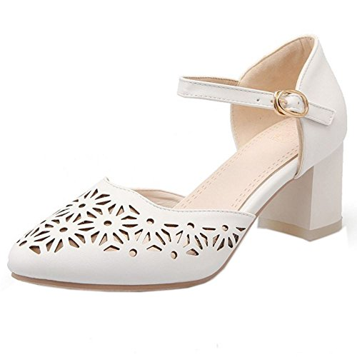 43eba39387d3e1 COOLCEPT Femmes Mode Cheville Court Chaussures Bloc Talon moyen Escarpins  Bout Ferme Chaussures Blanc