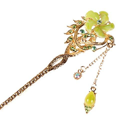 Nuptiale Coiffe Ornements cheveux épingle classique main, fleur vert