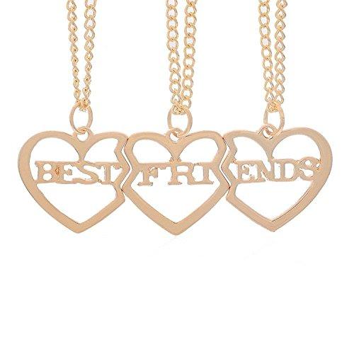 MJartoria Damen Kette Rosagold Farbe Drei Herz Anhänger Freundschaftsketten mit Gravur Best Friends Forever BFF Halskette 3 Stück (Golden Farbe) - 3 Mutter-töchter-halskette, Stück
