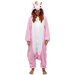 Dizoe Unicornio Pijama Adulto Animales Kigurumi Trajes Disfraz Halloween Cosplay Ropa De Dormir, Light Pink Unicorn, M (altezza 160-168 cm)