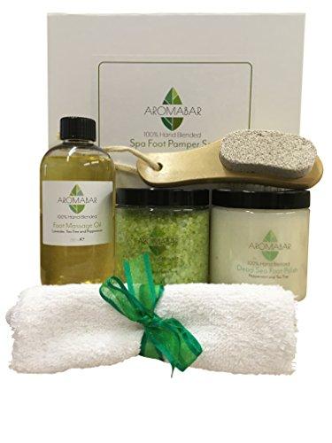 Spa Fuß- Pamper Set beinhaltet Fuss-Massage-öl, Frische Füße Salze Aufweichen, Dead Sea Peeling & Aus holz Fußmassagegerät