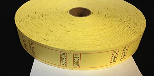 2000 Blank Yellow Single Roll Consecutively Numbered Raffle Tickets by 50/50 Raffle Tickets (Single Roll Tickets)