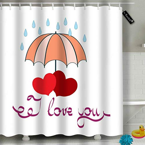 changchuan Bathroom Shower Curtain Quote I Love You Love Heart with Umbrella Polyester Fabric with 12 Hooks 72'x72'Inches 66x72 Inch