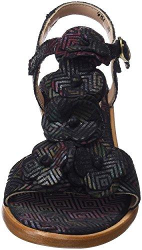 Neosens S982 Fantasy Geo Floral Black/Negreda, Sandales Bout Ouvert Femme Noir (Geo Floral Black)