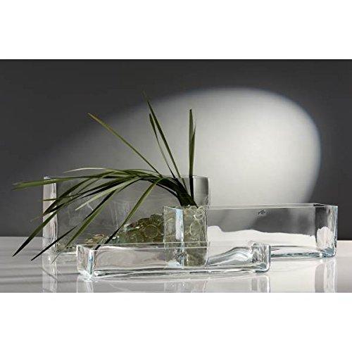 Große Rechteckige Glas (Glasvase Vase Glas Blumenvase Tischvase Glasschale groß rechteckig, 40x12)