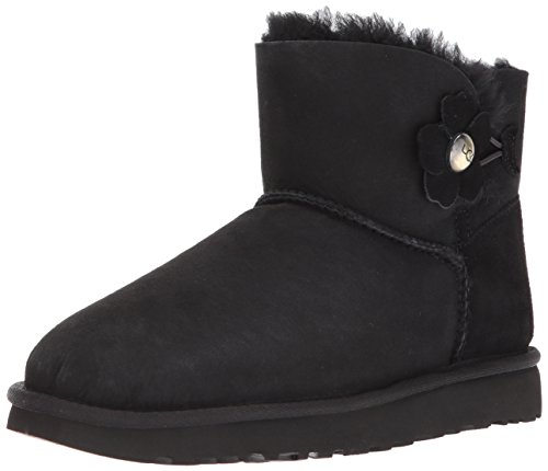 UGG Australia Damen Mini Bailey Button Poppy Schneestiefel, Schwarz Black, 39 EU - Bailey Button Black Boot