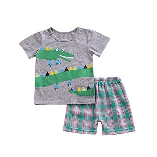 Babybekleidung,Resplend Kind Baby Junge Babyanzug Cartoon-Print-T-Shirt-Tops + Plaid Shorts Outfits Set Mode Freizeit Kurzarm 2 Stück Bekleidungssets (Grau, 24M)