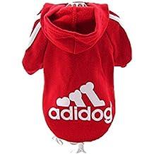 JUYUAN Adidog los Mascotas sueter del perrito de la camiseta caliente con capucha ropa de abrigo Suave para Mascota Perro Gato Ajustable Permeable al Aire(Rojo M)
