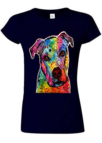 Dog Animal Doggie Cute Painting Art Novelty Navy Women Damen Top T-shirt Verschiedene Farben-XXL (T-shirt Dog Doggy Top)