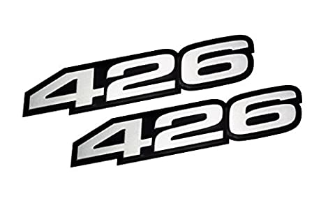 2x (pair/set) VMS Racing 426 SILVER on BLACK Highly Polished Aluminum EMBLEMS