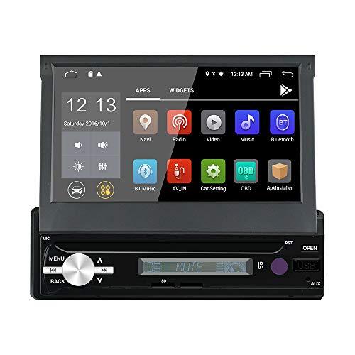 LEXXSON Android 8.1 1 Din Autoradio mit GPS Navigation Bluetooth 1080P HD Automatisch Ausfahrbarer Touchscreen FM/AM/RDS Unterstützt BT/SD/USB/Lenkradsteuerung/Freisprechen/Mirror Link (Hd Autoradio)
