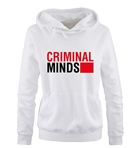 Comedy Shirts - CRIMINAL MINDS - Donna Hoodie cappuccio sweater - taglia S-XL vari colori bianco / nero-rosso