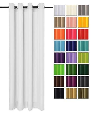 modern Vorhang Schal mit Ösen 140x250 CM (Weiß 1) lichtundurchlässig Gardine, Ösenvorhang Ösenschal für Kinderzimmer, Jugendzimmer, Schlafzimmer, Küche in 40