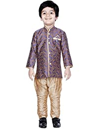 Divinee Beige and Blue Color Brocade Art Silk Sherwani Set for Boys with Paisley Self Design