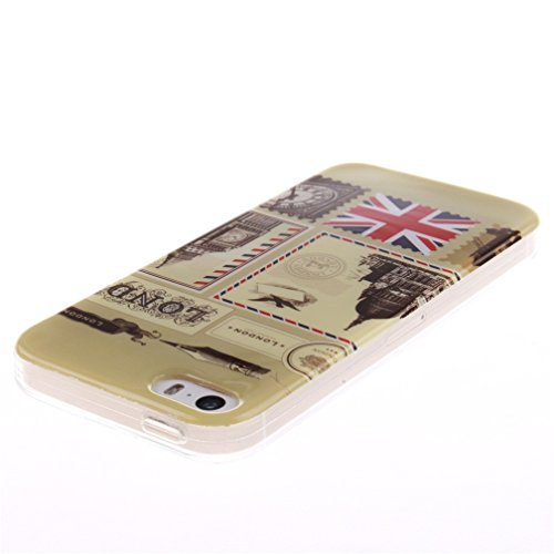 KATUMO®iPhone 5 Custodia, TPU Protettiva Cover in Silicone Custodia per Apple iPhone 5 5S Bumper Silicone Case Cover Casi,Sexy Ragazza Buste Londra