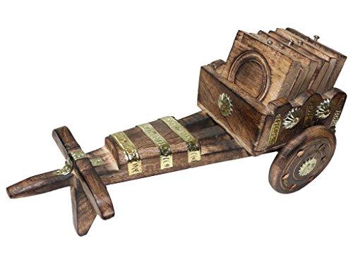 Vintage Crafts Handmade Wooden Tea And Coffee bullock cart Set of 6...