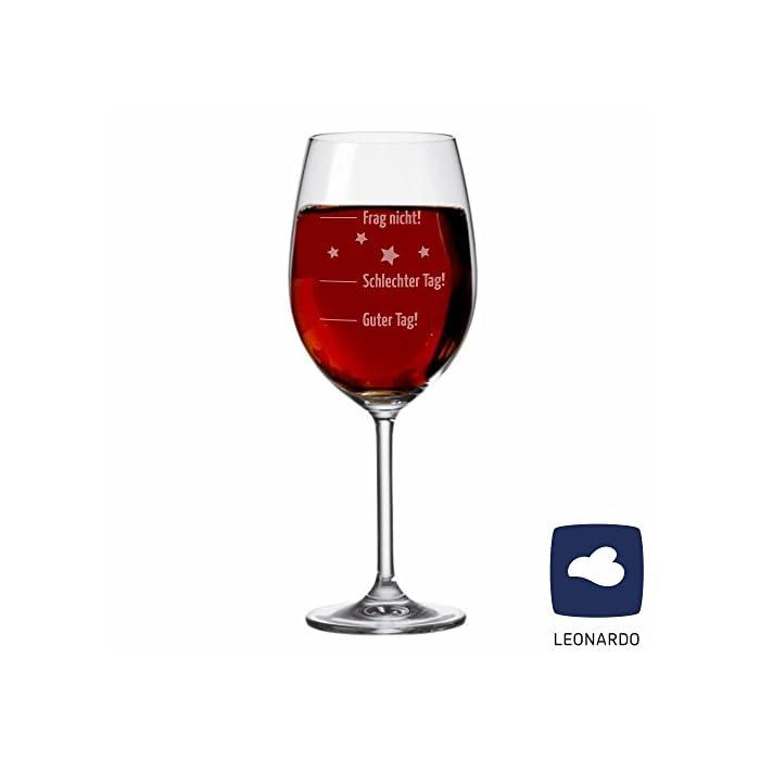 """XL LEONARDO Jumbo Weinglas""""Guter Tag, schlechter Tag."""" - Stimmungsglas - Weinglas - groß - mit Spruch - Geschenk -Weihnachtsgeschenk - Geburtstagsgeschenk - Geschenkidee"""