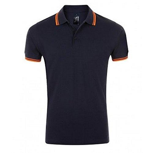 Sols Herren Pasadena Tipped Kurzarm Pique Polo Dunkles Marineblau/Neon Orange
