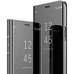 MRSTER Huawei P9 Miroir Housse Coque Etui à Rabat, Mirror Smart View Standing 360° Protecteur Etui Coque pour Huawei P9. Flip Mirror: Black