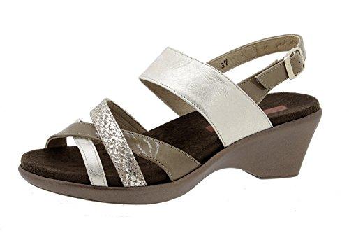 Chaussure femme confort en cuir Piesanto 6859 sandale semelle amovible chaussure confortables amples Beig