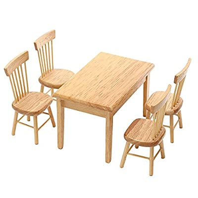 1 Set Miniature Dining Table Chair Wooden Furniture Set for 1:12 Dollhouse by TOYZHIJIA produced by The glass Heart - quick delivery from UK.