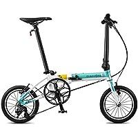 Monociclos Bicicleta Plegable Bicicleta Unisex 14 Pulgadas Ultraligera pequeña Rueda de Bicicleta portátil de 3 velocidades Bicicleta (Color : Blue, Size : 120 * 34 * 91cm)